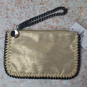 Wristlet,  chain and faux dear skirt pouch